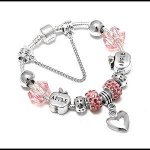NEW apples hearts pink crystal charm bracelet